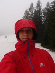 Einmal anhalten, um festzuhalten: In Schnee und Nebel das Herzogenhorn hinauf...
