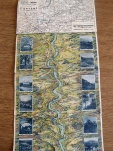 Ich will euch die Karten nicht vorenthalten, mit der wir navigiert haben: Eine fast auseinanderfallende alte Übersichtskarte des Egertals von meiner Oma (Datum unbekannt)...