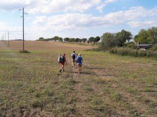 """...Gott sei Dank kommen ja zwischendurch die Freunde und belgeiten mich die letzen 8 km :-D Wir suchen uns ab und zu einen """"Weg"""" aka Acker neben der Landstraße."""